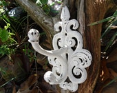 Wall Hook /.Shabby Chic/ Cottage/ Cream/ French Cottage/Large Cast Iron Hook /Bathroom hook / Fixture / Shabby Chic Decor
