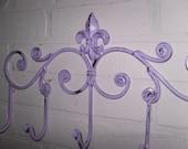 Lilac  Fleur de Lis / Coat rack / Shabby Chic / Indoor/Outdoor /Metal wall hook /Bathroom hook / Shabby Chic Decor