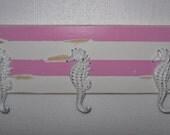 Towel rack / Coat rack / Beach Decor / Nautical / Seahorse Rack / Pink and White / Bathroom Decor / Wall Hook
