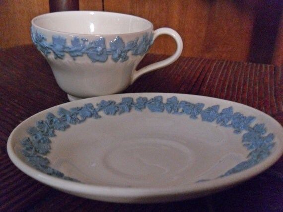 Wedgwood Embossed Queens Ware Teacup And Saucer