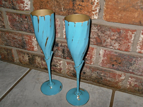 Unique Vintage Brass Revamped Tiffany Blue Wine By