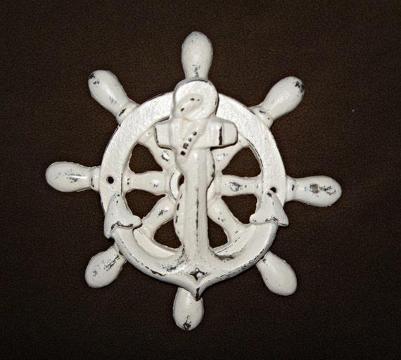 Door knocker anchor and ship wheel beach decor cast iron for Anchor door decoration