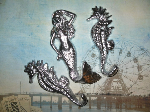 Mermaid / Seahorse /Trio Wall Hooks / Modern Bath Decor / Mod / Silver /Metal wall hook /Bathroom hook / Fixture / Shabby Chic Decor