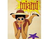 MIAMI 2-Handmade Leather Postcard / Note Card / Fridge Magnet - Travel Art
