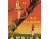 AFRICA 1S- Handmade Leather Journal / Sketchbook - Travel Art