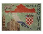 CROATIA 1F- Handmade Leather Passport Cover / Travel Wallet - Travel Art