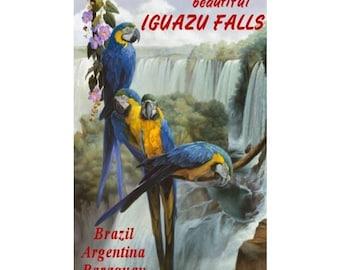 IGUAZU FALLS 1-Handmade Leather Postcard / Note Card / Fridge Magnet - Travel Art