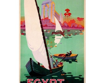 EGYPT 1-Handmade Leather Postcard / Note Card / Fridge Magnet - Travel Art