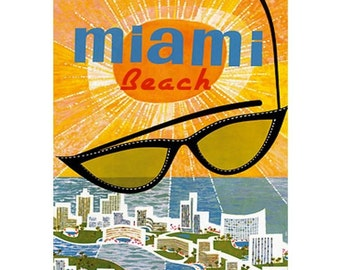 MIAMI BEACH 1- Handmade Leather Passport Cover / Travel Wallet - Travel Art