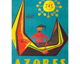 AZORES 2-Handmade Leather Postcard / Note Card / Fridge Magnet - Travel Art