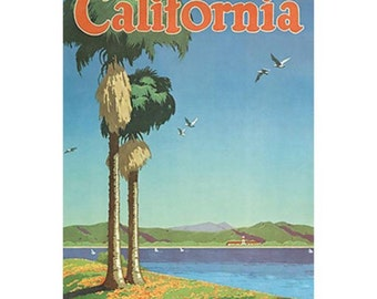 CALIFORNIA 17-Handmade Leather Postcard / Note Card / Fridge Magnet - Travel Art