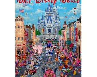 DISNEY WORLD 2-Handmade Leather Postcard / Note Card / Fridge Magnet - Travel Art