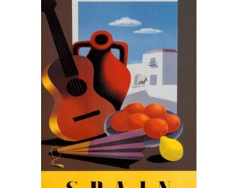 SPAIN 7-Handmade Leather Postcard / Note Card / Fridge Magnet - Travel Art