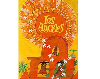 LOS ANGELES 1-Handmade Leather Postcard / Note Card / Fridge Magnet - Travel Art