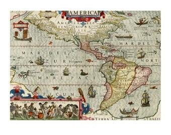 ANTIQUE AMERICA Map 1M- Handmade Leather Passport Cover / Travel Wallet - Travel Art