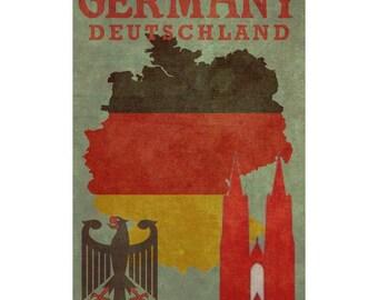 GERMANY 1F- Handmade Leather Passport Cover / Travel Wallet - Travel Art