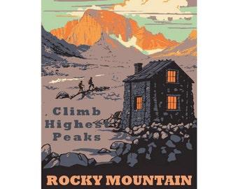 ROCKY MOUNTAIN NP 1s- Handmade Leather Journal / Sketchbook - Travel Art