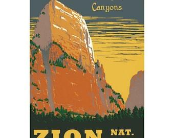 ZION NP 1S- Handmade Leather Journal / Sketchbook - Travel Art