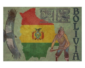 BOLIVIA 1F- Handmade Leather Passport Cover / Travel Wallet - Travel Art