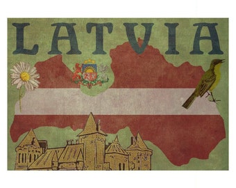 LATVIA 1F- Handmade Leather Passport Cover / Travel Wallet - Travel Art