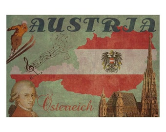 AUSTRIA 1FS- Handmade Leather Journal / Sketchbook - Travel Art
