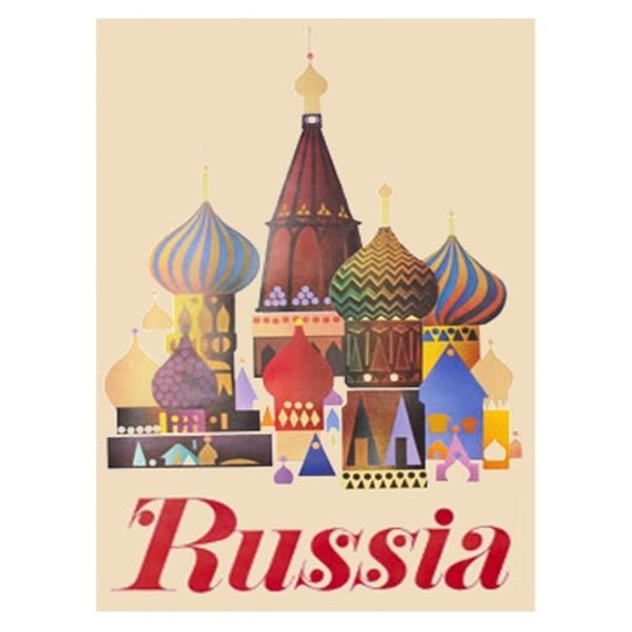 RUSSIA 3-Handmade Leather Postcard / Note Card / Fridge Magnet - Travel Art