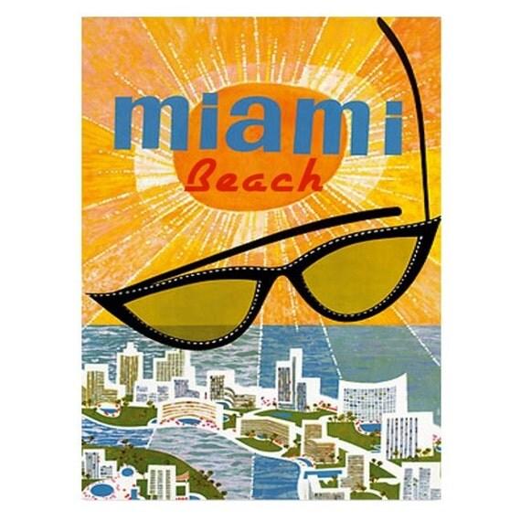 MIAMI BEACH 1-Handmade Leather Postcard / Note Card / Fridge Magnet - Travel Art