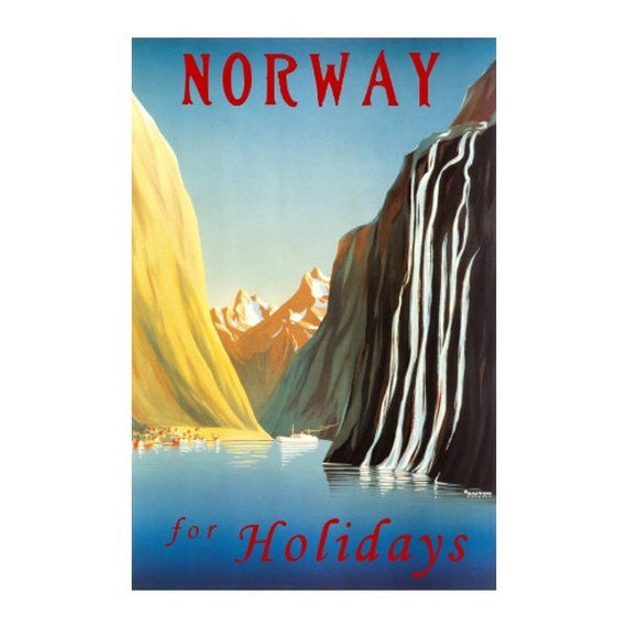 NORWAY 1- Handmade Leather Passport Cover / Travel Wallet - Travel Art