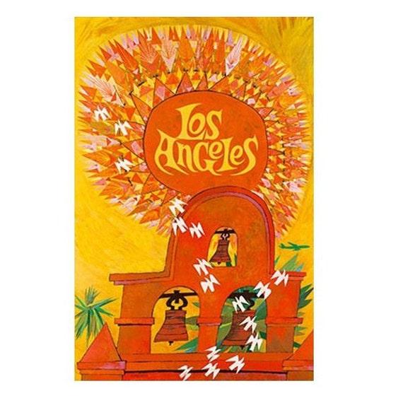 LOS ANGELES 1-Handmade Leather Postcard / Note Card / Fridge Magnet - Travel Art