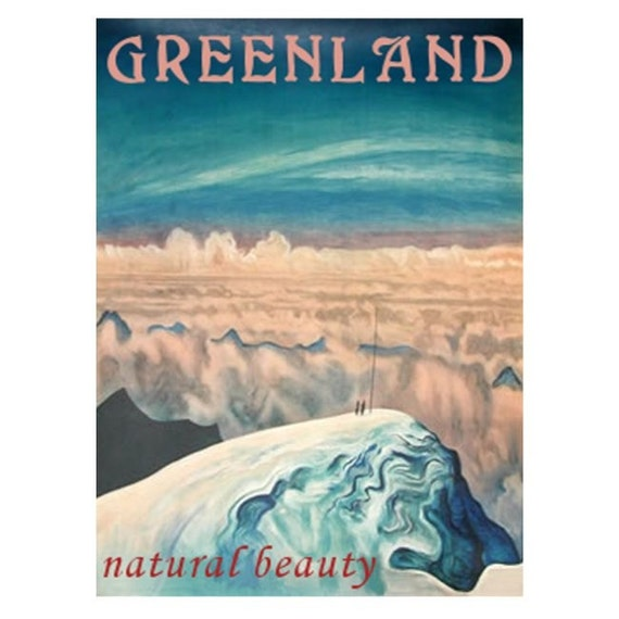 GREENLAND 1- Handmade Leather Passport Cover / Travel Wallet - Travel Art