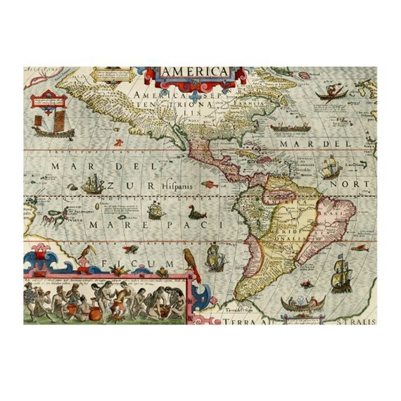 ANTIQUE AMERICA Map 1M- Handmade Leather Passport Cover / Travel Wallet - Travel Art