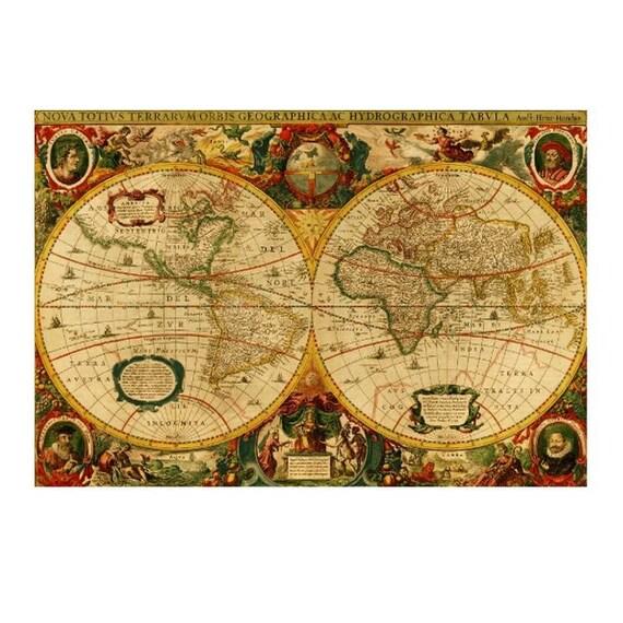 ANTIQUE WORLD MAP 6- Handmade Leather Passport / Ticket Holder - Travel Art