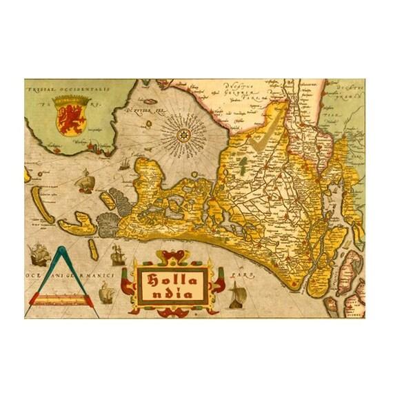 ANTIQUE HOLLAND Map 1M- Handmade Leather Passport Cover / Travel Wallet - Travel Art