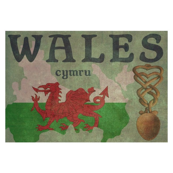 WALES 1F- Handmade Leather Passport Cover / Travel Wallet - Travel Art