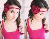 Valentine Crocheted Heart Headband in Strawberry (See below for more colors)