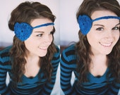 Crocheted Heart Headband in Blue, Boho Heart Band