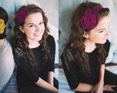 Crocheted heart headband in Raspberry