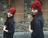 Crochet Ear warmer Headband, 2 button closure,  Teen ear wrap, Ski Band, Snowboard headbandRed