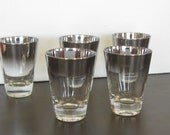 Vintage Silver Ombre Cocktail Glasses, Mad Men Style