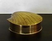 On Reserve for LH....Vintage Brass Box, Shell Trinket Box