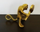 Brass Monkey Holding a Mirror, Desk Ornament or Paperweight