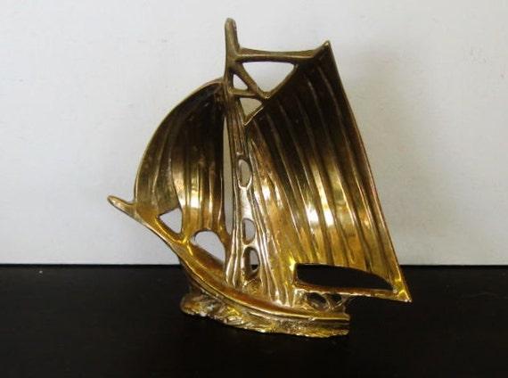 Vintage Brass Clipper Ship, Sailboat