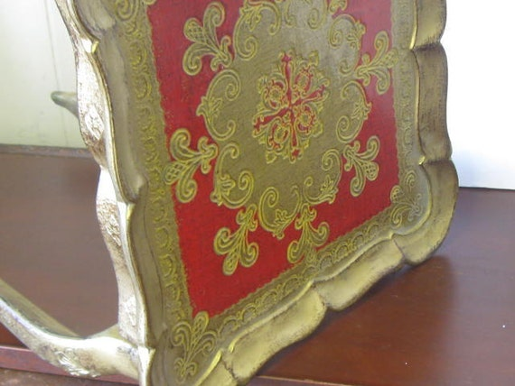 Vintage Florentine Table, Red and Gold Side Table