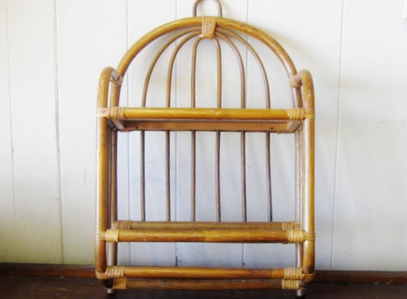 Vintage Rattan Wall Shelf Bamboo Shelf Cottage Chic