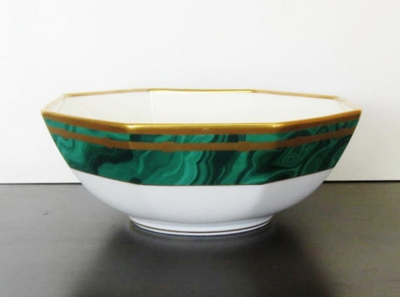 Christian Dior Malachite Bowl, Hollywood Regency,  Octagonal  Serving Bowl