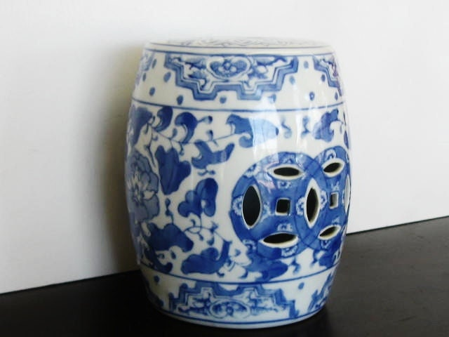Mini Garden Stool Blue And White Chinoiserie Porcelain