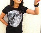 The E.T. cycling parody tee shirt - white full Moon on black - Available in Womens XL only