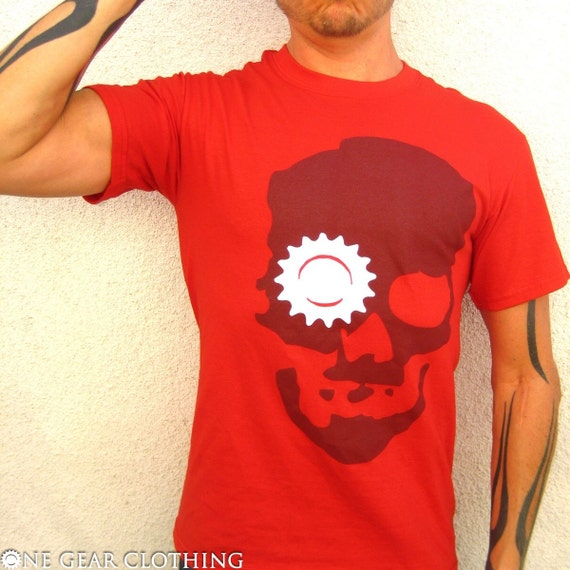 Ghost Roger - Skull with gear eye socket tee shirt - Maroon and white on red - Mens / Unisex SMALL