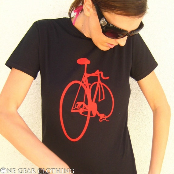 Bikes Got Back - Fixed gear bike tee shirt - Red on Black - Available in Mens / Unisex S, M, L, XL