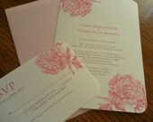 Made to Order  Pretty PEONY Soft Pink & Gray Invitation